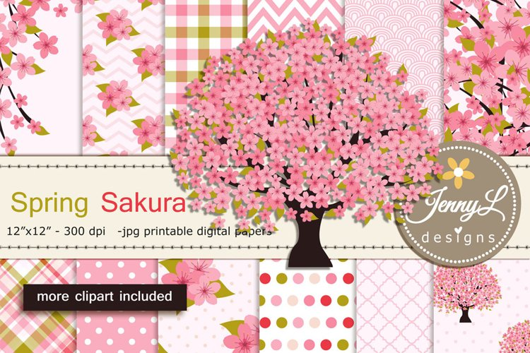 Cherry Blossoms Digital Papers and Sakura Clipart example image 1