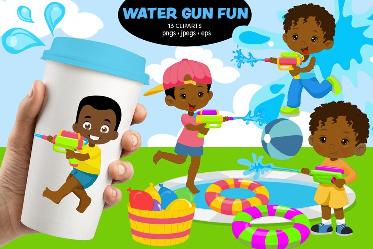 African American Kids, Water games, water gun, Sportive kids