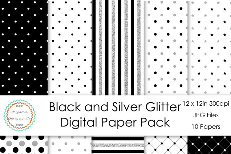Black and Silver Glitter Digital Paper example image 1