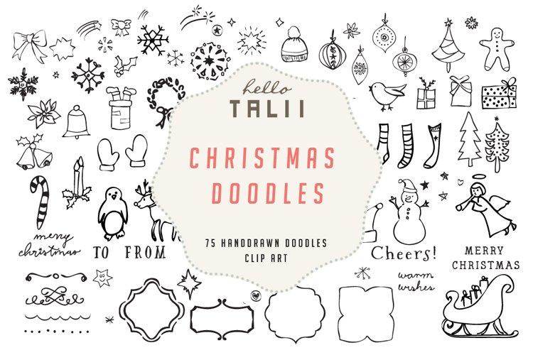 Christmas Doodles Clip Art example image 1