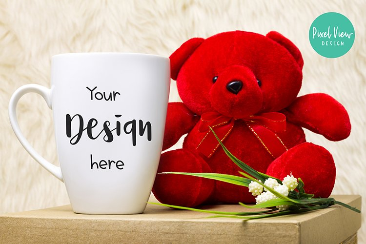 Blank White Coffee Mug Mock up with Red Bear example image 1
