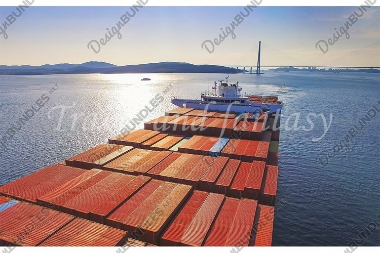 Container ship at anchor in port vladivostok roadstead example image 1