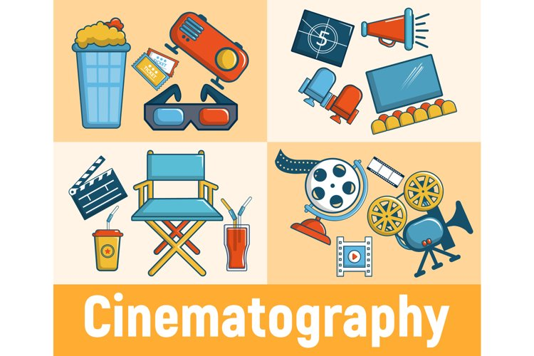 Cinematography concept banner, cartoon style example image 1