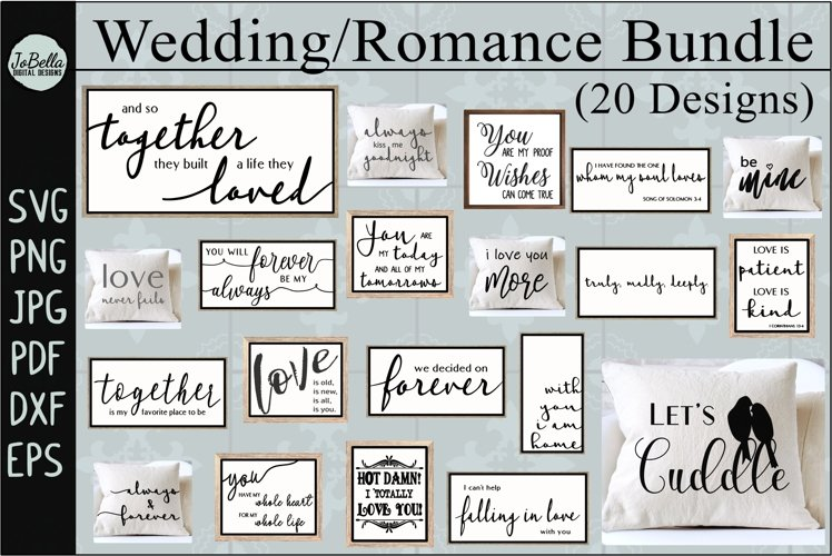 Wedding and Romance SVG Bundle, Sublimation PNGs, and Prints
