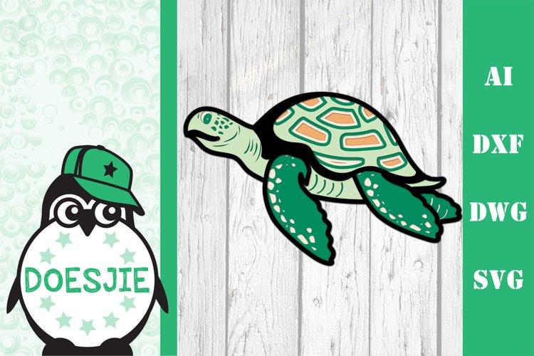 Layered Sea turtle multi layer mandala sea nautical 3d svg example image 1
