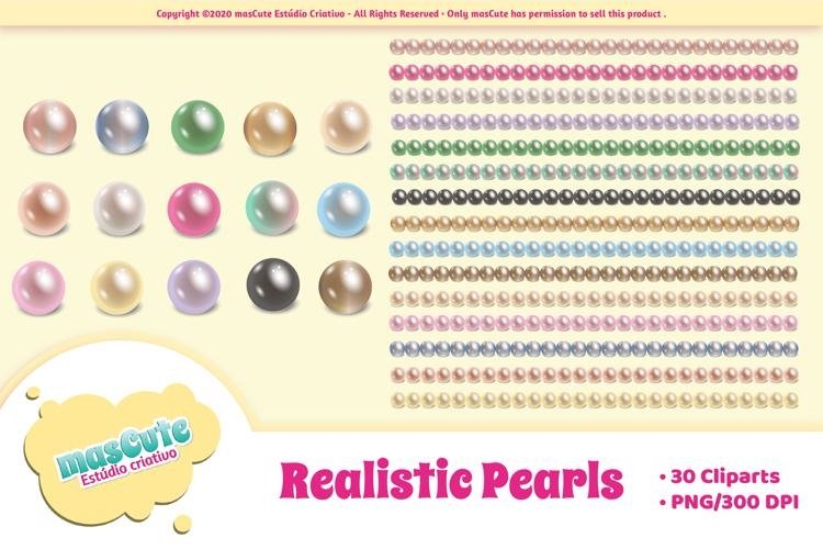 Realistic pearls cliparts and borders example image 1