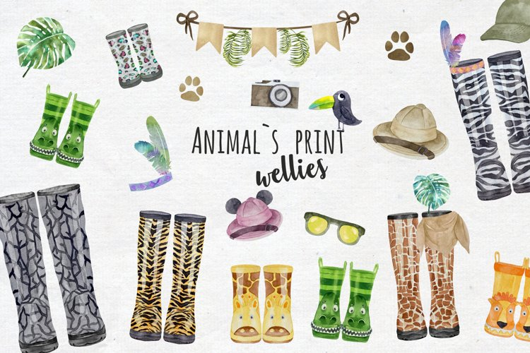 Animals Print Wellies Clipart