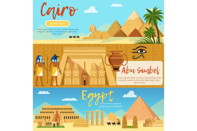 Horizontal banners of egypt landscape. Vector pictures set i example image 1