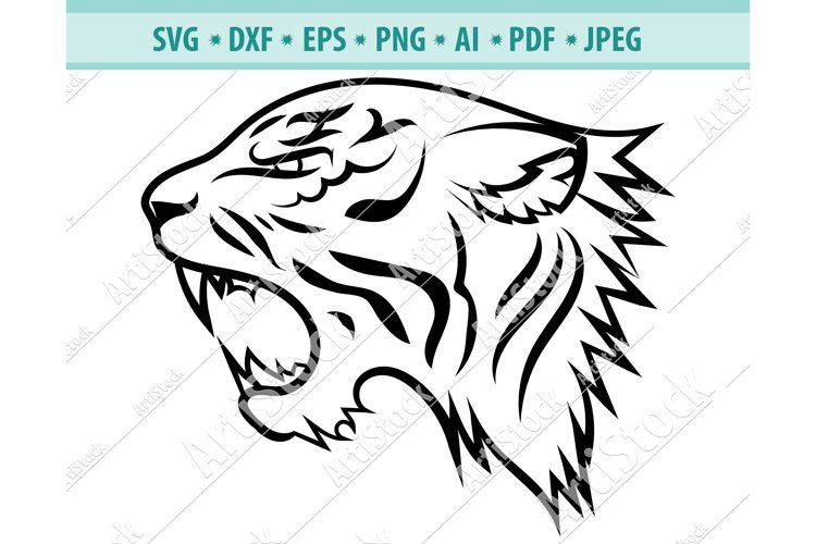 Tiger Face SVG, Head of a tiger clipart, Cats Dxf, Png, Eps example image 1