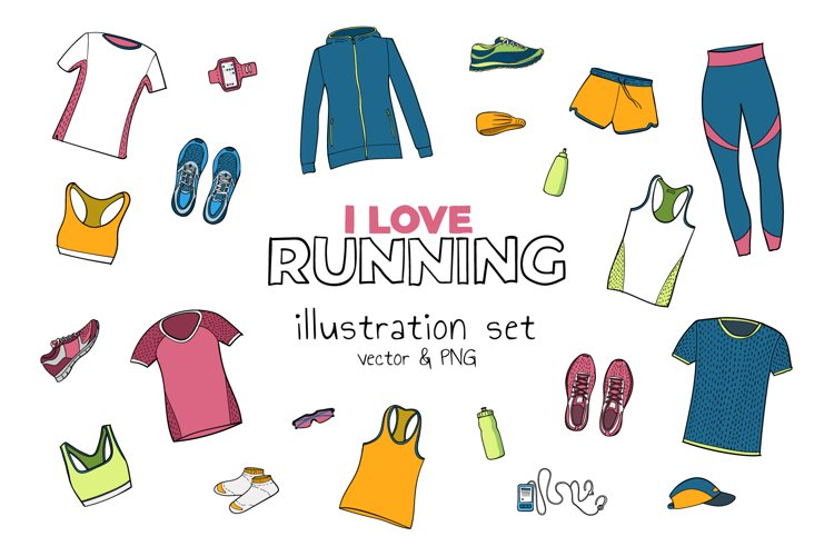 Running illustration set