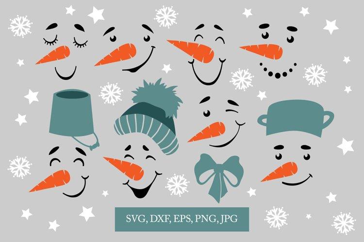 Snowman faces svg, smile clip-art,snowflake svg example image 1