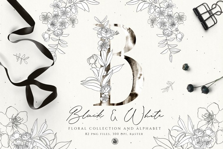 Black and White Floral Alphabet