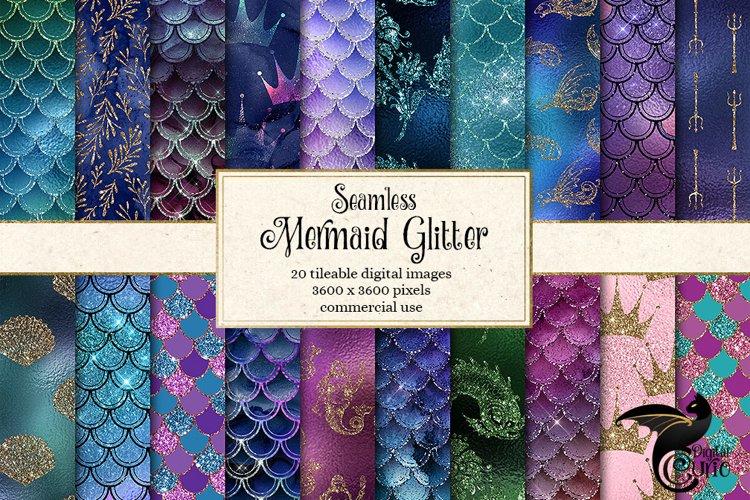 Mermaid Glitter Digital Paper example image 1