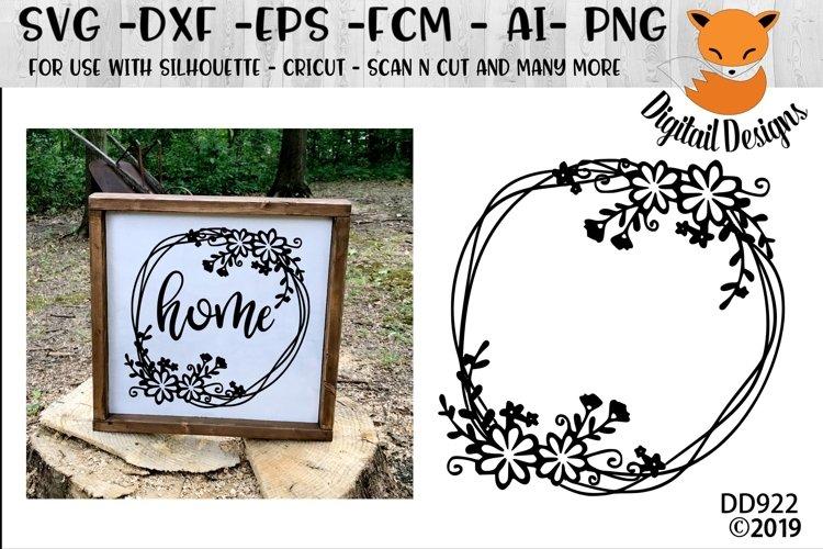 Doodle Flower Monogram Frame SVG example image 1