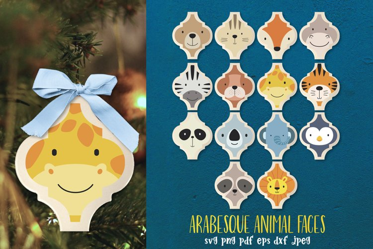 Arabesque tile Animal faces Funny Ornament Christmas tree example image 1