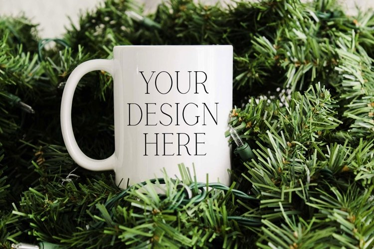 11 Ounce Pine Tree Christmas Mug Mockup