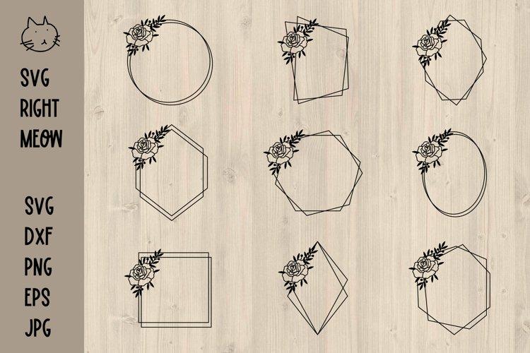 Geometric Frames SVG Bundle, Floral frames SVG example image 1