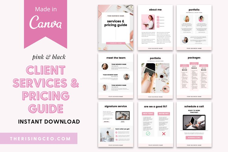 Client Services and Pricing Guide Canva Template example image 1