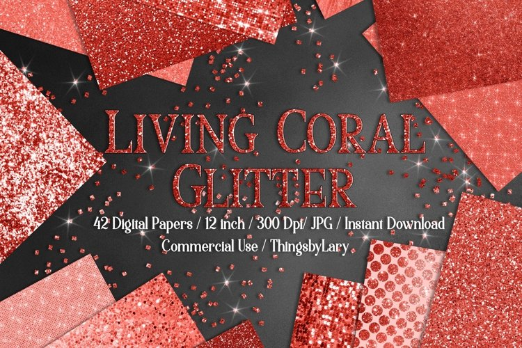 42 Living Coral Glowing Glitter Sequin Digital Papers example image 1