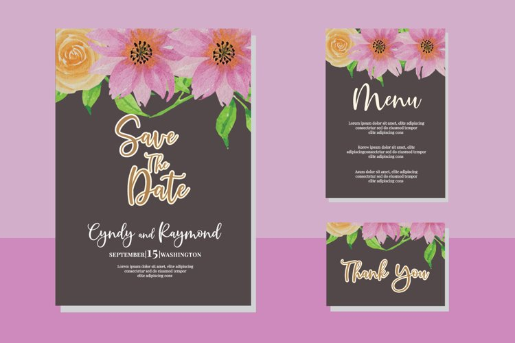 Download Vintage Floral Flower Watercolor Wedding Invitations Set Car 1133002 Card And Invites Design Bundles