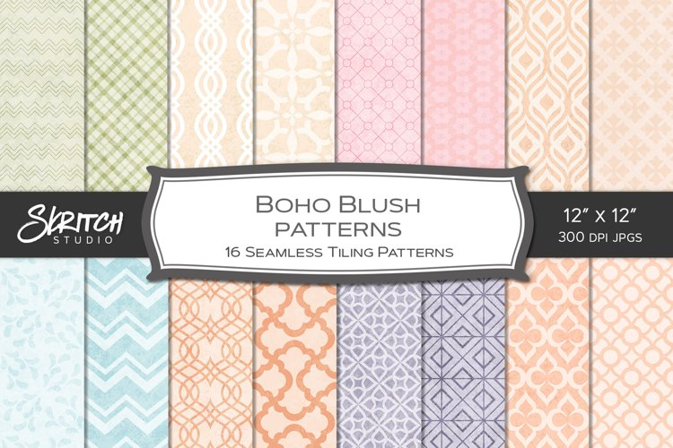 Boho Blush Patterns 14 Tileable Digital Papers