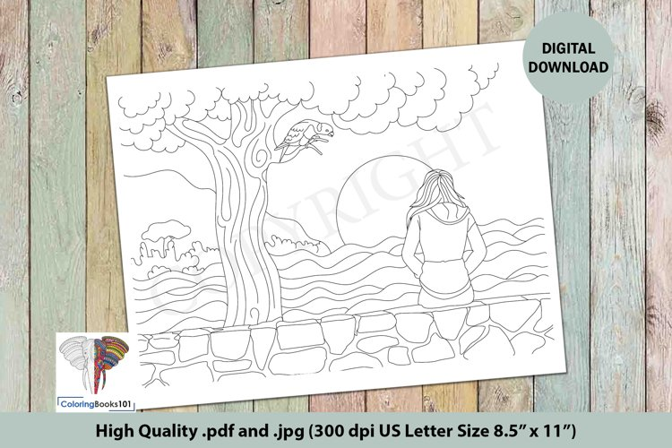 Girl Sitting Alone Near the River Adult Coloring Page example image 1