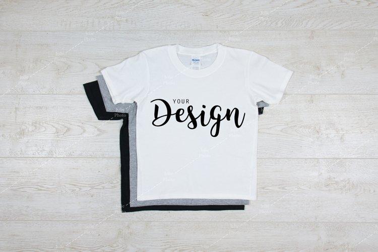 Gildan Kids Softstyle 64500B White T-Shirt Mockup Youth example image 1