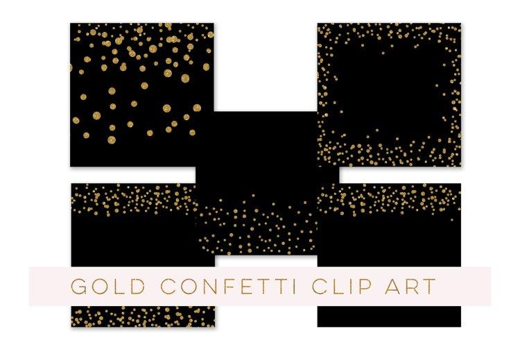 Confetti Clipart, Confetti Clip Art, Confetti Overlay, Black Gold Confetti Borders, Glitter Gold Confetti Graphics, Glitter Digital Confetti, commercial use