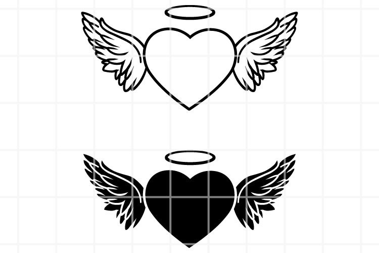 Angel Wings SVG. Wings with heart SVG. Heart wings clipart.