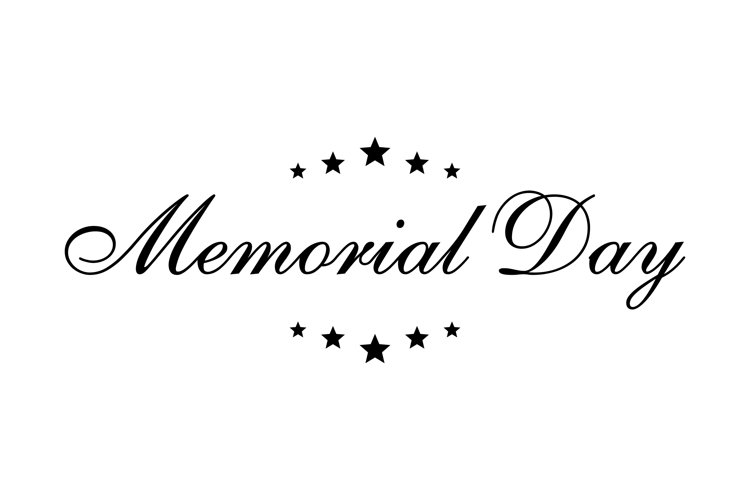 Memorial Day lettering with stars. USA memorial day banner