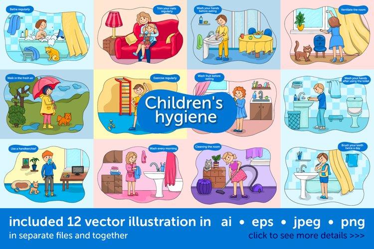 Baby hygiene vector illustration set