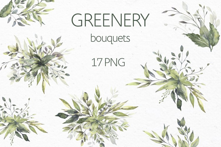 Watercolor Greenery Bouquets Clipart example image 1