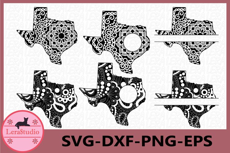 Texas State SVG, Texas Frames, Mandala SVG, Zentangle svg example image 1