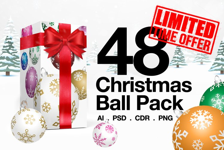 48 Christmas Ball Ornaments Pack 6 Colors example image 1