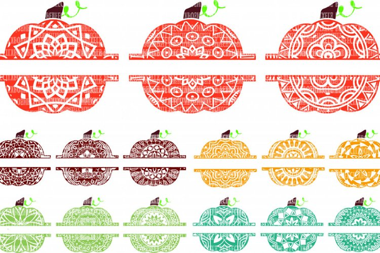 Pumpkin Pattern Momogram Frame Pack SVG Files Cut Files Heat Transfer Vinyl Scrapbooking Stencil EPS DXF Silhouette Cameo Cricut Commercial Use example image 1