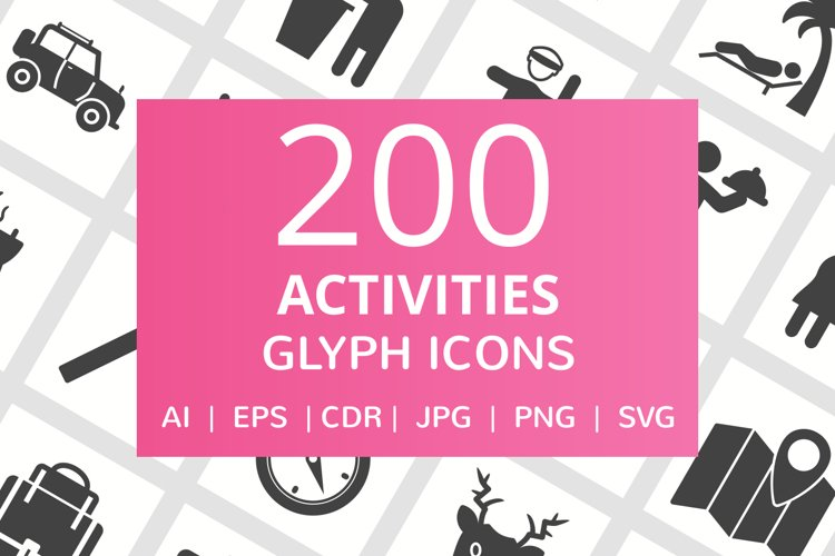 200 Activities Glyph Icons example image 1