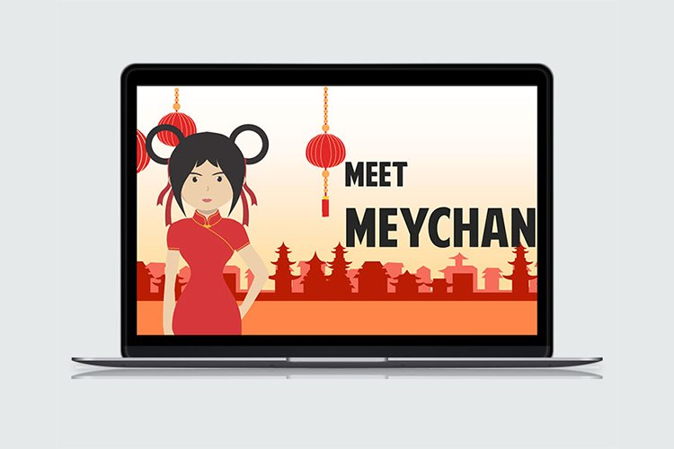 Asian Girl Cartoon PowerPoint Template example image 1