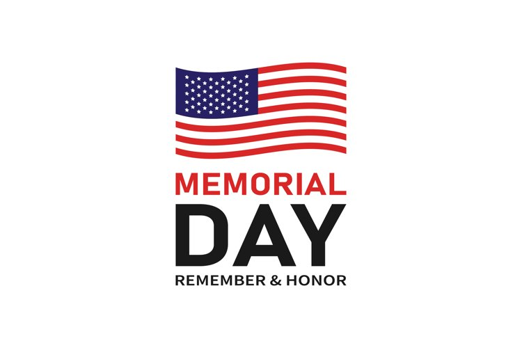 USA Memorial Day. American flag with stars and text
