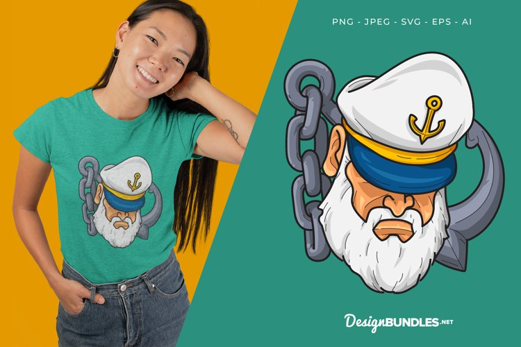 Sailor and An Anchor Vector Illustration For T-Shirt Design