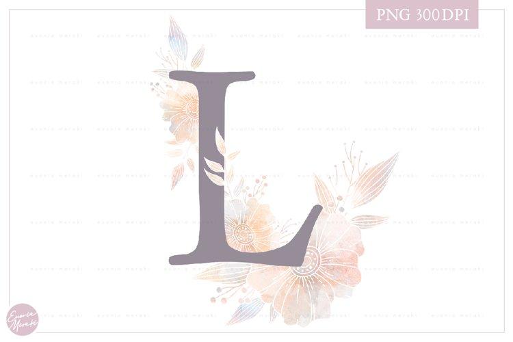 MONOGRAM Letter L Elegant Floral Monogram - Flower alphabet example image 1
