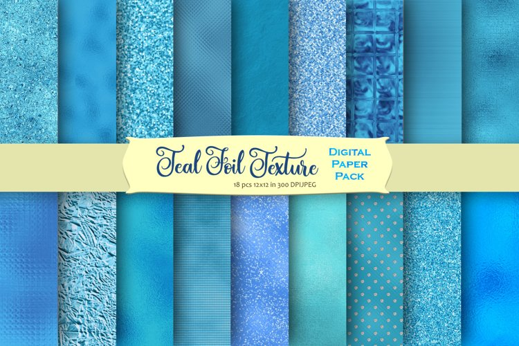 Teal Foil and Glitter Textures Digital Paper example image 1