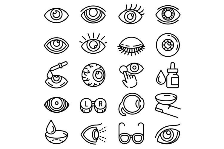 Eyeball icon set, outline style example image 1