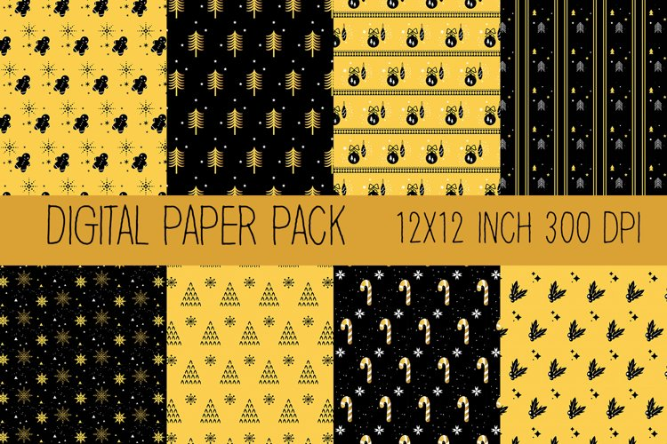 Christmas Digital Paper, Gold and Black Digital Paper example image 1