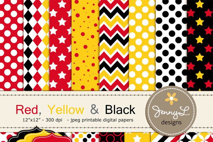 Red, Yellow and Black Digital Papers example image 1