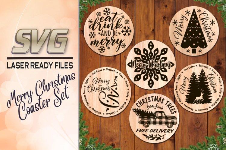 Merry Christmas Coaster Set Svg Laser Glowforge Files 882966 Laser Engraving Design Bundles
