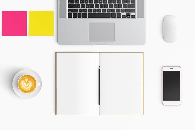 Modern workplace. Top view. Flat lay style. 25