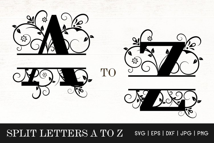 Floral Split Letters Monogram SVG - Alphabets Split Monogram example image 1
