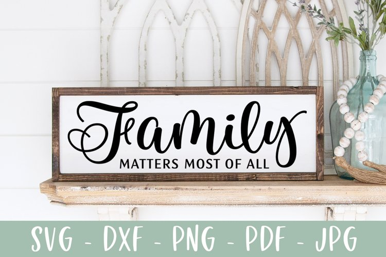 Family Quote Sign SVG Cut File, Family Matters Most of All example image 1