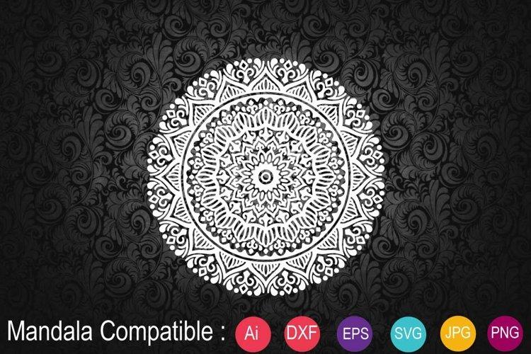 Mandala White with Eps 10, SVG example image 1