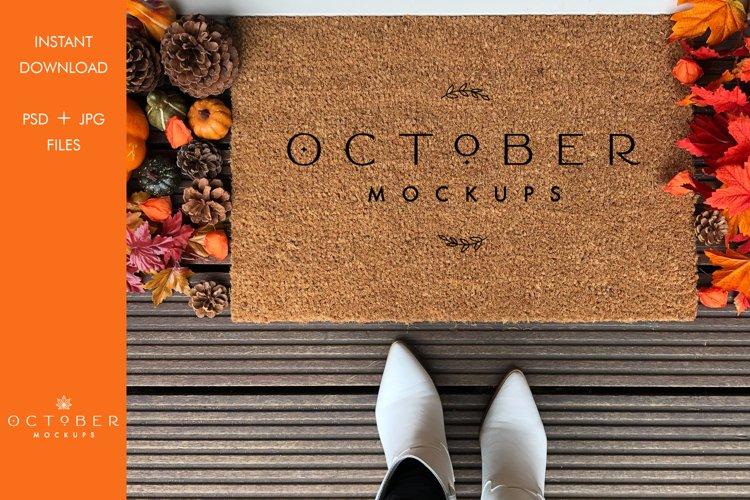Fall Doormat mockup | Personalized doormat mockup JPG and PS example